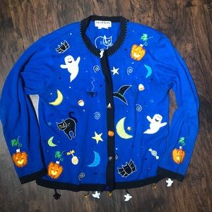 Jack B Quick Blue Cardigan Halloween sweater